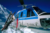 Heli-skiing on the top